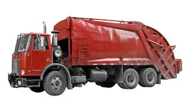 Garbage Truck. With all logos and signage removed. A clipping path is included Stock Photography