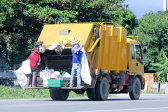 Garbage truck. CHIANGMAI, THAILAND -OCTOBER 19 2014: Garbage truck of Nongjom Subdistrict Administrative Organization. Photo at road no 121 about 8 km from Stock Photo