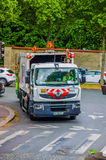 Garbage truck collecting waste in the streets of Royalty Free Stock Photo