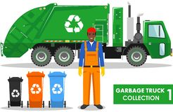 Garbage truck collection. Detailed illustration of garbageman, truck and different types of dumpsters on white. Detailed illustration of garbage man, garbage Royalty Free Stock Photo