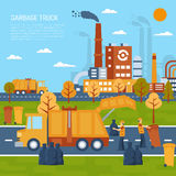 Garbage Truck Concept. Garbage truck color illustration with title and information field vector illustration Royalty Free Stock Images