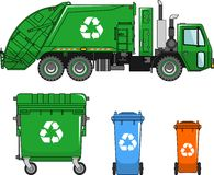 Garbage truck and different types of dumpsters on a white background in a flat style Royalty Free Stock Images