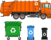 Garbage truck and different types of dumpsters on a white background in a flat style Royalty Free Stock Photo