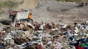 Garbage truck on dump. Garbage truck on the dump stock video footage