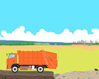 Garbage truck at the dump. Garbage truck came out of the city to the landfill to unload garbage. Cleaning equipment. Vector illustration Stock Photo