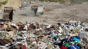 Garbage truck on the dump. Garbage truck on the city dump stock video footage