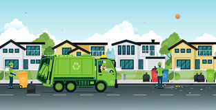 Garbage truck. That employs garbage in the streets Stock Image
