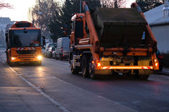 Garbage Truck from the garbage disposal. In the early morning Stock Photo