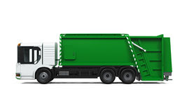 Garbage Truck Isolated. On white background. 3D render Royalty Free Stock Photography