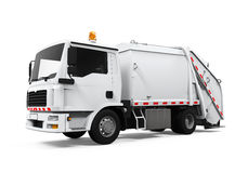 Garbage Truck Isolated. On white background. 3D render Royalty Free Stock Photo