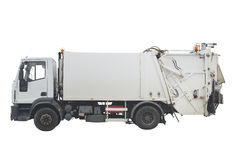 Garbage truck isolated on white background Stock Photo