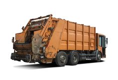 Garbage truck isolated on white Stock Photography