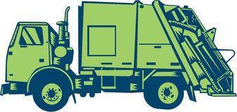 Garbage Truck Rear End Loader Side Woodcut Stock Photos