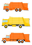 Garbage truck set. Stock Photos