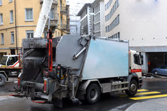 Garbage truck. In the street cities Stock Photography