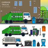 Garbage truck on the street Royalty Free Stock Photos