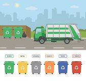 Garbage truck on the street in the town. Garbage cans isolated on white background. Sorting garbage. Ecology and recycle concept. Vector illustration Royalty Free Stock Photo