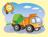 Garbage truck and the sun. Fun garbage truck and the sun working together Stock Image