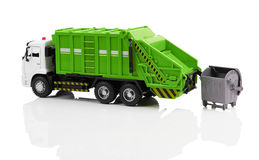 Garbage truck. Toy isolated on a white background Royalty Free Stock Photos