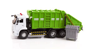 Garbage truck. Toy isolated on a white background Royalty Free Stock Images