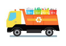 Garbage Truck with Trash. Garbage truck transporting colored recycle waste bins with paper, glass, plastic, metal. Garbage tipper with trash. Waste recycling Royalty Free Stock Photo