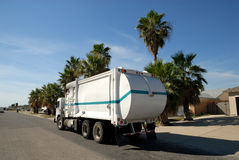 Garbage truck in the USA. Garbage truck in the United States Royalty Free Stock Photography