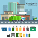 Garbage truck vector flat illustrations. Royalty Free Stock Photos