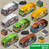 Garbage Truck 01 Vehicle Isometric. Garbage Truck Collection. NEW bright palette 3D Flat Vector Icon Set. Isometric Colorful Vehicle Fleet of Sanitation Royalty Free Stock Photos