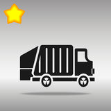 Garbage trucks illustration. Black garbage truck Icon button logo symbol concept high quality on the gray background Royalty Free Stock Photography