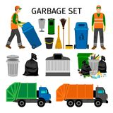 Garbage trucks, trash can and sweeper. Colorful garbage collecting icons set on white background. Vector illustration Stock Images