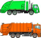 Garbage trucks  on a white background in a flat style Stock Image