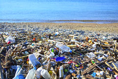 Garbage. View of garbage and waste on the beach Royalty Free Stock Photo