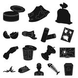 Garbage and waste black icons in set collection for design. Cleaning garbage vector symbol stock web illustration. Garbage and waste black icons in set Stock Photo