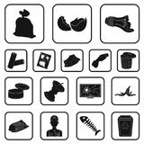 Garbage and waste black icons in set collection for design. Cleaning garbage vector symbol stock web illustration. Garbage and waste black icons in set Royalty Free Stock Photo