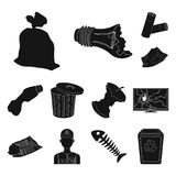 Garbage and waste black icons in set collection for design. Cleaning garbage vector symbol stock web illustration. Garbage and waste black icons in set Stock Photography