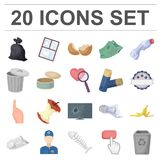 Garbage and waste cartoon icons in set collection for design. Cleaning garbage vector symbol stock web illustration. Garbage and waste cartoon icons in set Royalty Free Stock Image