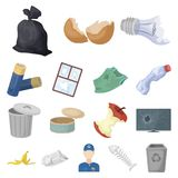 Garbage and waste cartoon icons in set collection for design. Cleaning garbage vector symbol stock web illustration. Garbage and waste cartoon icons in set Royalty Free Stock Photo