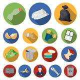 Garbage and waste flat icons in set collection for design. Cleaning garbage vector symbol stock web illustration. Garbage and waste flat icons in set collection Royalty Free Stock Images