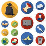 Garbage and waste flat icons in set collection for design. Cleaning garbage vector symbol stock web illustration. Garbage and waste flat icons in set collection Royalty Free Stock Image