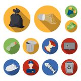 Garbage and waste flat icons in set collection for design. Cleaning garbage vector symbol stock web illustration. Garbage and waste flat icons in set collection Stock Photo