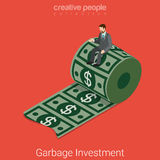 Garbage waste investment money dollar flat 3d vector isometric Stock Images