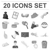 Garbage and waste monochrome icons in set collection for design. Cleaning garbage vector symbol stock web illustration. Garbage and waste monochrome icons in Royalty Free Stock Photography