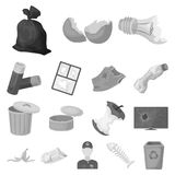 Garbage and waste monochrome icons in set collection for design. Cleaning garbage vector symbol stock web illustration. Garbage and waste monochrome icons in Royalty Free Stock Photos