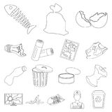 Garbage and waste outline icons in set collection. For design. Cleaning garbage vector symbol stock  illustration Stock Image