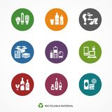Garbage waste recycling icons round. Garbage waste recycling icons, line round symbols of different waste sorting, garbage recycling. Vector illustration vector illustration