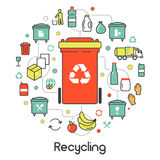 Garbage Waste Recycling Line Art Thin Icons. Garbage Waste Recycling Line Art Thin Vector Icons Set with Trashcans Royalty Free Stock Photography