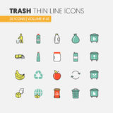 Garbage Waste Recycling Linear Thin Line Icons Set with Trashcans Royalty Free Stock Photography