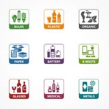 Garbage waste recycling square icons Royalty Free Stock Photos