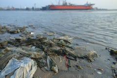 Garbage. Waste at sea to managed stock photos