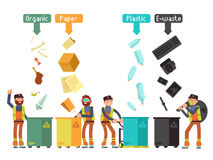 Garbage waste segregation for recycling vector concept. Segregate waste and separate trash illustration Royalty Free Stock Images